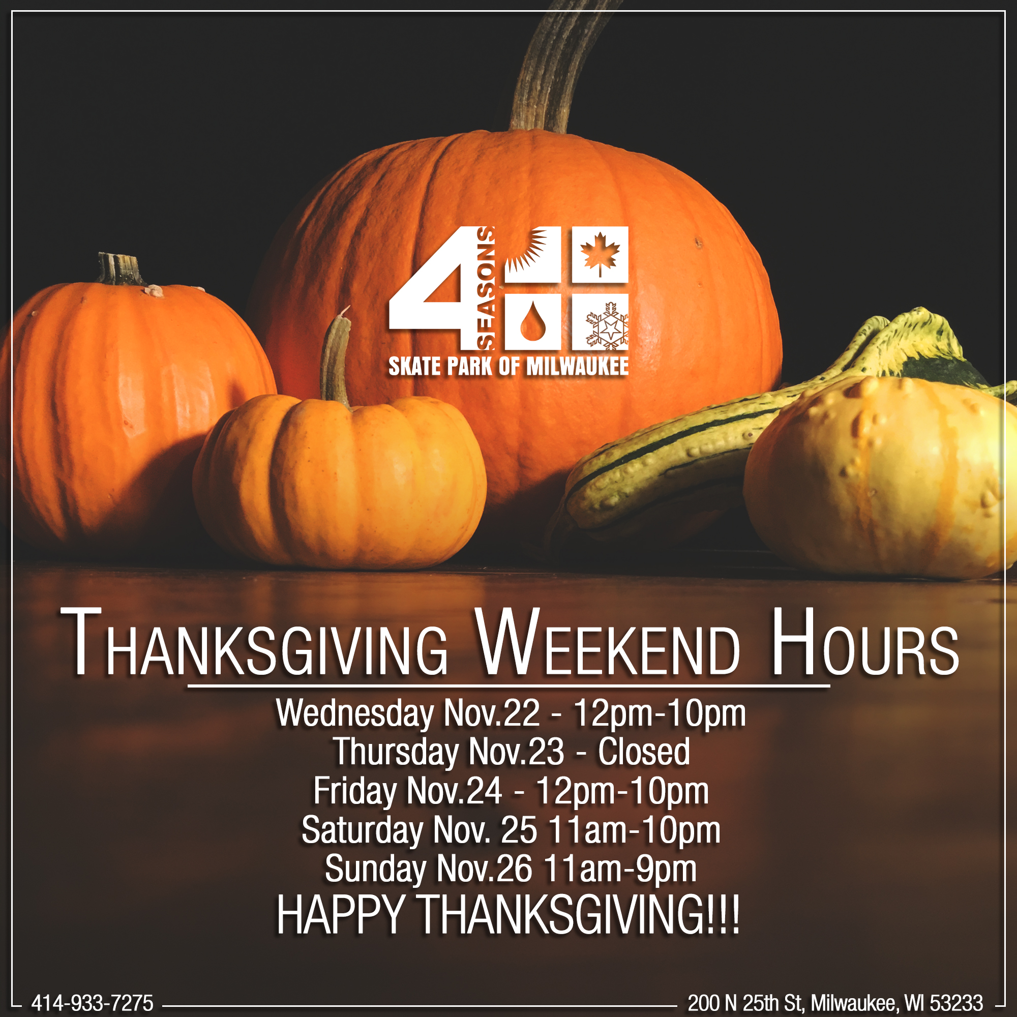 Thanksgiving Weekend Hours